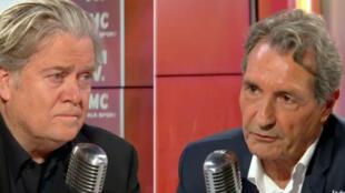 Steve Bannon participou do programa político matinal do canal BFMTV, entrevistado pelo jornalista jean-Jacques Bourdin.