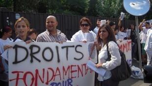 Une manifestation des Roms pour le respect de leurs droits fondamentaux.