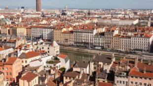 Vue aérienne de la ville de Lyon.