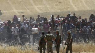 آوارگان سوری حسکه در مرز ترکیه