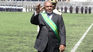 Le président des Comores Azali Assoumani, lors de sa cérémonie d'investiture à Moroni, le 26 mai 2016.