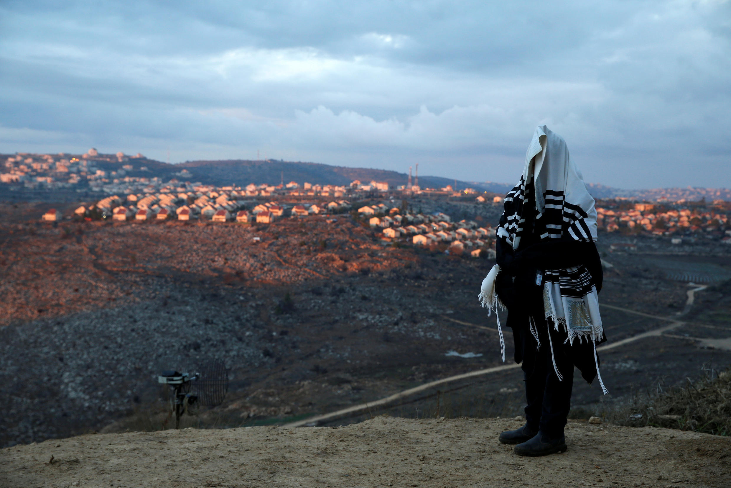 An Israeli settler at the Amona outpost in the West Bank, 18 December 2016.