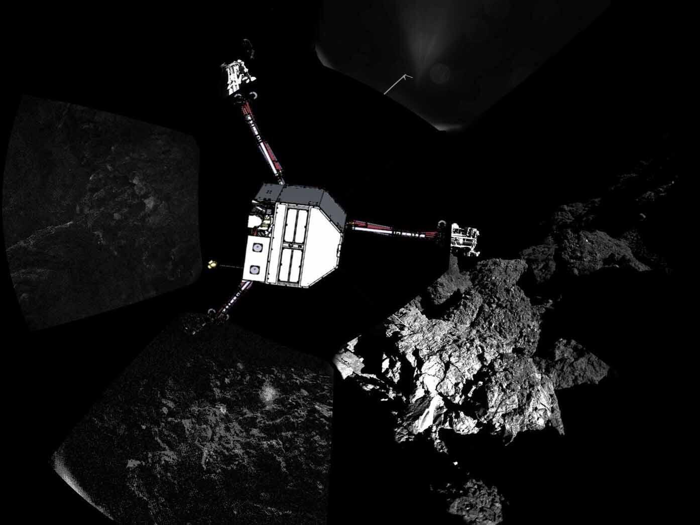 Philae está sobre a superfície rochosa do cometa desde quarta-feira.