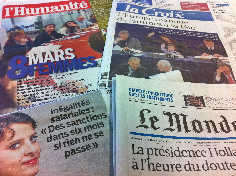 Capas dos diários de 8 de Março de 2013