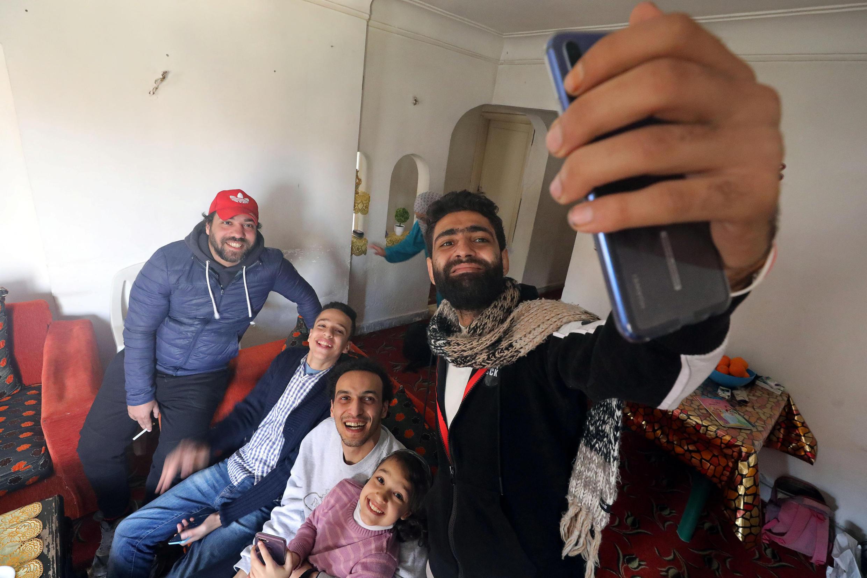 Shawkan avec les siens ce lundi 4 mars 2019 au Caire.
