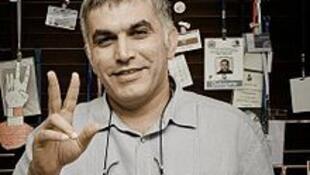 Nabil Rajab dans son bureau à Bani Jamra, au Bahreïn.
