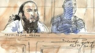 A court sketch made on October 2, 2017 Abdelkader Merah in Paris courthouse during his trial for complicity in the series of shootings commited by his jihadist brother Mohamed in Toulouse and Montauban in 2012