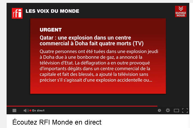 Radio enrichie - RFI sur Youtube avec Radioline