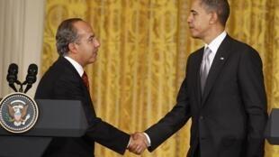 Encontro dos presidentes Barack Obama e Felipe Calderón.
