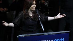 La chef de l'Etat sortante Cristina Kirchner lors de sa campagne pour l'élection présidentielle.
