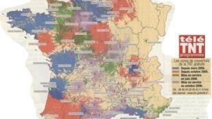 Карта этапов перехода Франции на цифровое телевидение