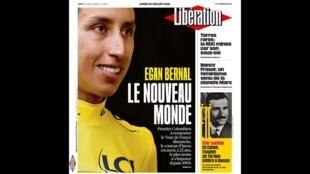 Capa do jornal Libération desta segunda-feira (29) destacando a inédita vitória de uma sul-americano no Tour de France