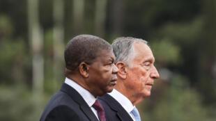 O chefe de Estado angolano, João Lourenço, acompanhado do homólogo português, Marcelo Rebelo de Sousa, na sua visita a Portugal