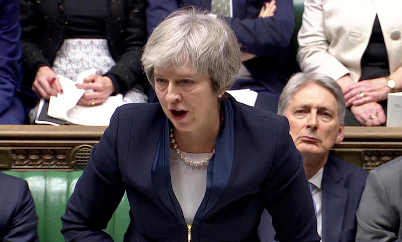 Theresa May, lors de son discours devant le Parlement, avant le rejet de son projet d'accord de divorce avec l'UE, le 15 janvier 2019.