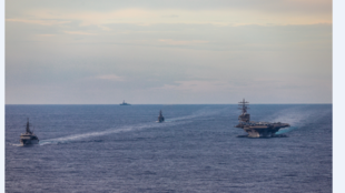 Capture Japan Navy Japan Maritime Self-Defense Force training ships JS Kashima and JS Shimayuki conduct a passing exercise (PASSEX) with Nimitz-class nuclear-powered aircraft carrier USS Ronald Reagan in the South China Sea, July 7, 2020.