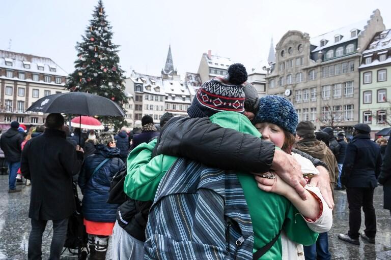 Emotivo homenaje a las víctimas del atentado del 11 de diciembre. Estrasburgo, domingo 16 de diciembre de 2018.