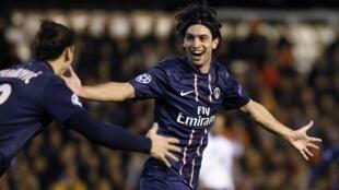 O argentino Javier Pastore marcou o único gol da partida do PSG contra o Evian.