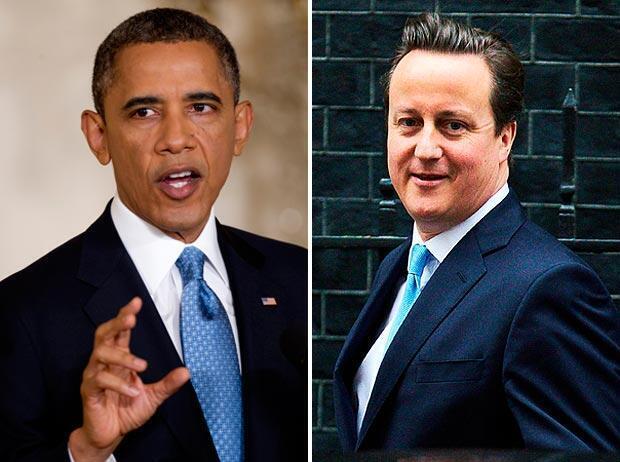 Daga hagu- Shugaban Amurka Barack Obama da Firaministan Birtaniya David Cameron