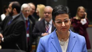 La ministra de Asuntos Exteriores de España, Arancha González, llega a la sede de la Unión Europea en Bruselas, el 20 de enero de 2020