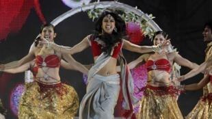 Bollywood actress Priyanka Chopra performs at a show in South Africa