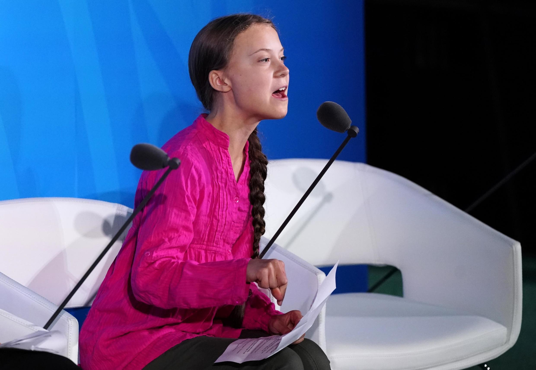 La Suédoise Greta Thunberg au siège de l'ONU, le 23 septembre 2019.