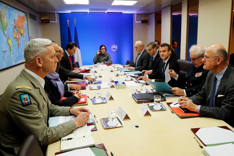 Tổng thống Pháp Emmanuel Macron tham gia một cuộc họp tại điện Elysée, Paris, 14/4/2018.