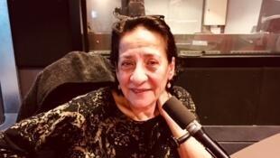 Hoda Barakat en studio à RFI (octobre 2018).