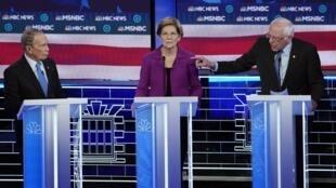Tranh luận giữa nghị sĩ Bernie Sanders (P) với cựu thị trưởng New York Mike Bloomberg (T), Las Vegas, Nevada, 19/02/2020