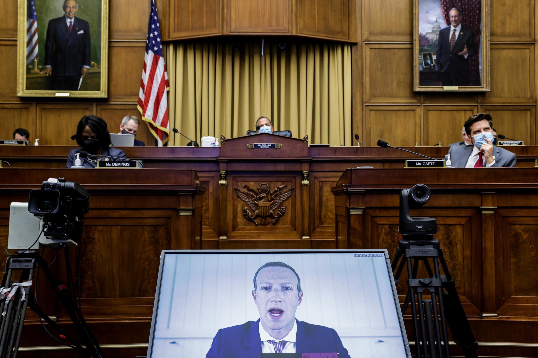 El fundador y CEO de Facebook, Mark Zuckerberg, ante el Comité Judicial de la Cámara de Representantes de EE.UU., el miércoles 29 de julio de 2020.