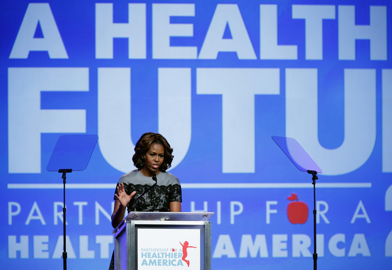 Discurso da primeira-dama Michelle Obama em março de 2014 durante cúpula de combate à obesidade infantil.
