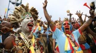 Les supporters congolais dans les tribunes du stade Amahoro de Kigali au Rwanda, le 7 février 2016, lors de la finale du Chan 2016.
