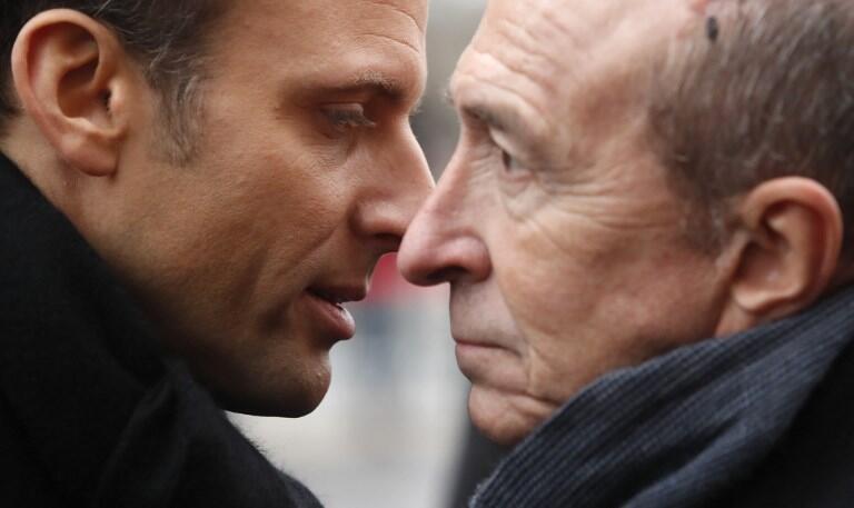 Shugaban Faransa Emmanuel Macron tare da Ministan Cikin Gida Gérard Collomb a Paris