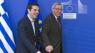 El Primer Ministro Alexis Tsipras y el presidente de la Comisión Europea, Jean-Claude Juncker