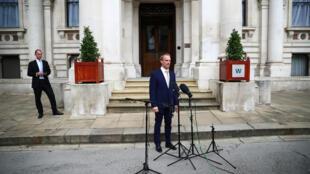Ảnh tư liệu: Ngoại trưởng Anh Dominic Raab phát biểu tại Luân Đôn ngày 01/07/2020 về Luật An Ninh Hồng Kông.