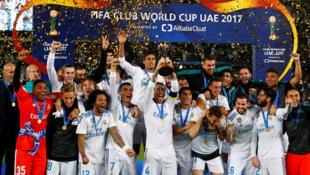 'Yan wasan Real Madrid a lokacin da suke murnar lashe kofin gasar kungiyoyin kwallon kafa na Duniya, da aka fi sani da Club World Cup. Disamba, 16, 2017.