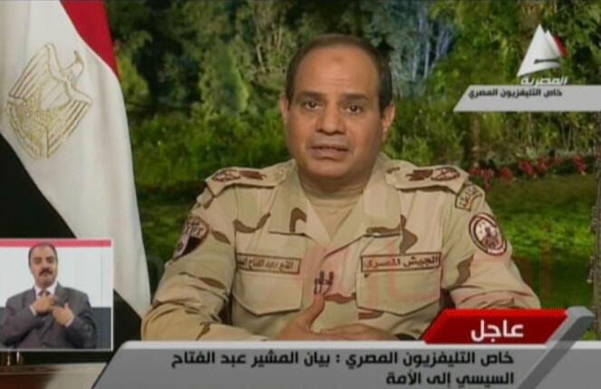 Abdel Fattah al-Sissi lors de son allocution télévisée au Caire, le 26 mars 2014.