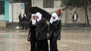 Palestinian schoolgirls in Gaza City