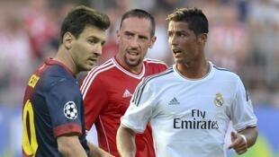 Lionel Messi, Frank Ribery and Cristiano Ronaldo