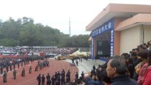 Cảnh sân vận động thành phố Lục Phong, Quảng Đông, nơi một phiên tòa tuyên 10 án tử hình, và thi hành ngay, ngày 18/12/2017.