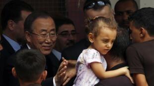 Le secrétaire général de l'ONU, Ban Ki-moon, s'est rendu à Gaza, le 14 octobre 2014.