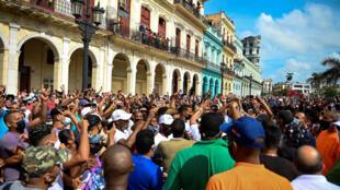 Manifestación contra el gobierno cubano, en La Habana el 11 de julio de 2021