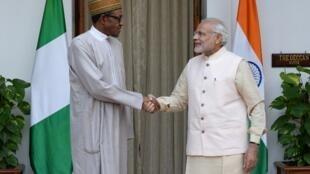 Le président nigérian Muhammadu Buhari et le Premier ministre indien Narendra Modi.