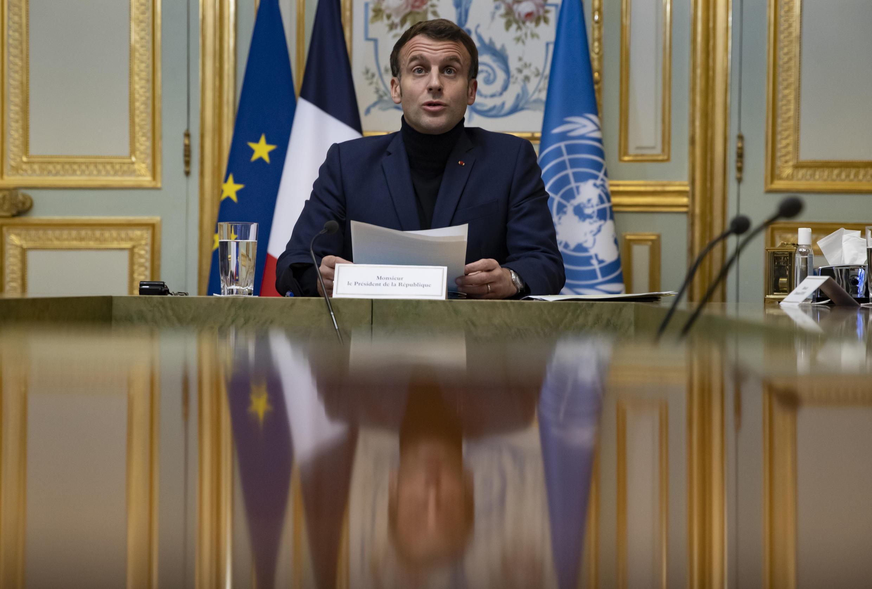 Emmanuel Macron na abertura da segunda conferência de ajuda ao Líbano.