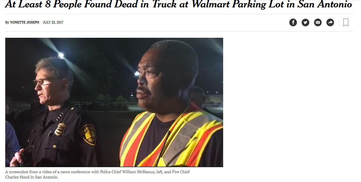 Cette affaire de passagers clandestins trouvés dans un camion à San Antonio, au Texas, fait les gros titres de la presse aux Etats-Unis.