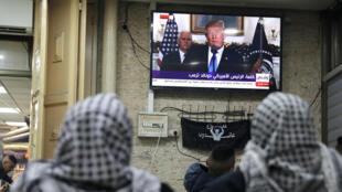 Palestiniens à Jérusalem suivant l'allocution de Donald Trump dans laquelle le président américain a officiellement reconnu Jérusalem comme capitale d'Israël, le 6 décembre 2017.