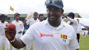 Sri Lankan spinner Rangana Herath celebrates his six-wicket haul against Bangladesh in Galle on Saturday.