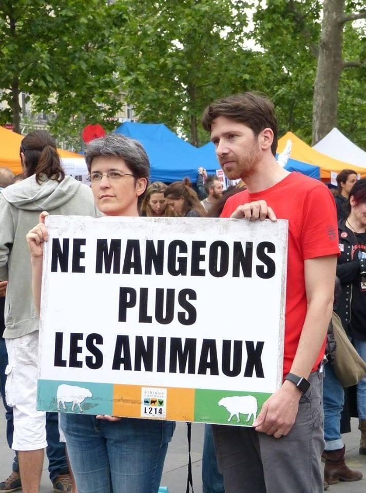 L214 cofounder Sébastien Arsac campaigning for vegetatianism