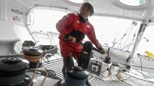 French skipper Yannick Bestaven aboard 'Maitre Coq' on the Vendee Globe