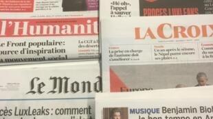 Primeiras páginas dos diários franceses 25/04/2016