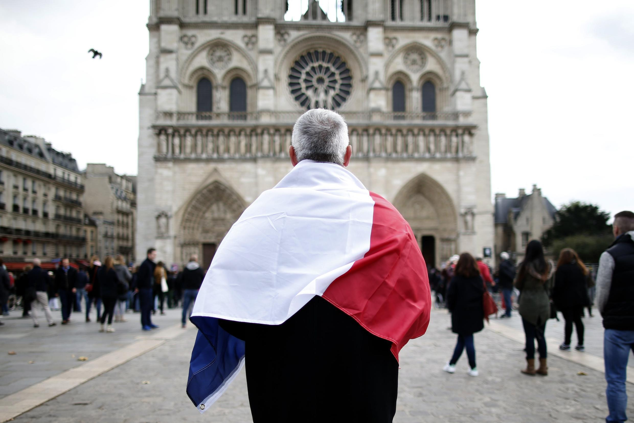 In front of Notre-Dame cathedral in Paris